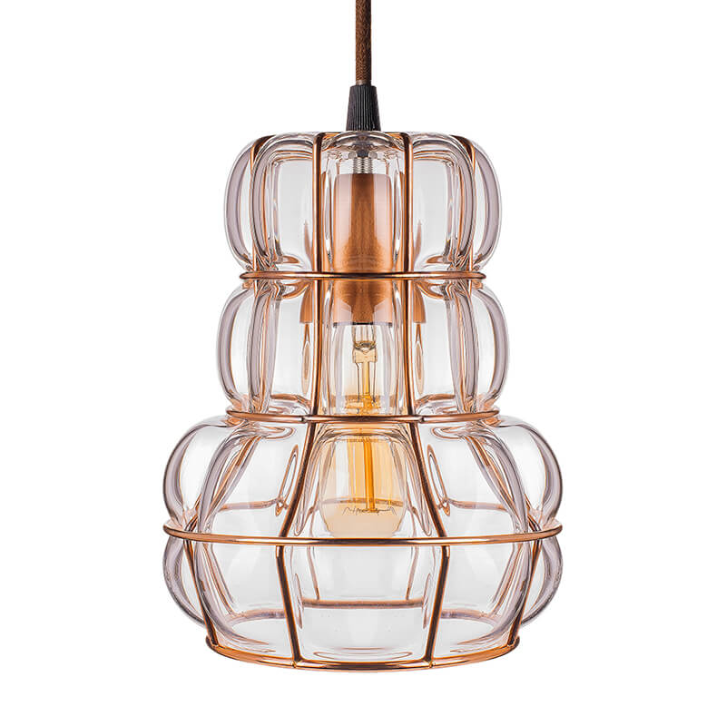 Crown Glass Blown Metal Pendant Light, Edison Industrial Hanging E27 Ceiling Light, Rose Gold
