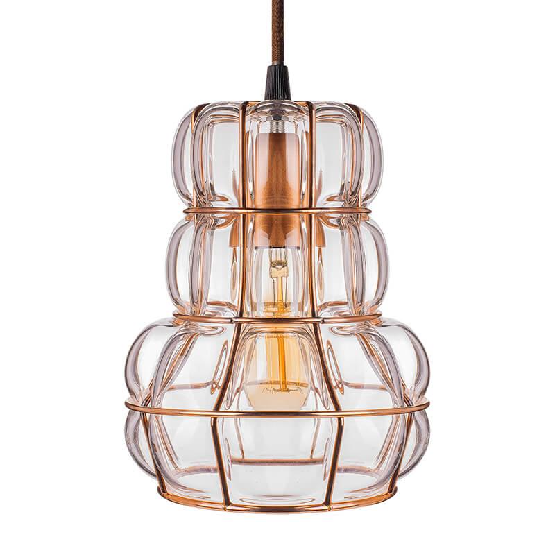 Crown Glass Blown Metal Pendant Light, Edison Industrial Hanging E27 Ceiling Light, Rose Gold