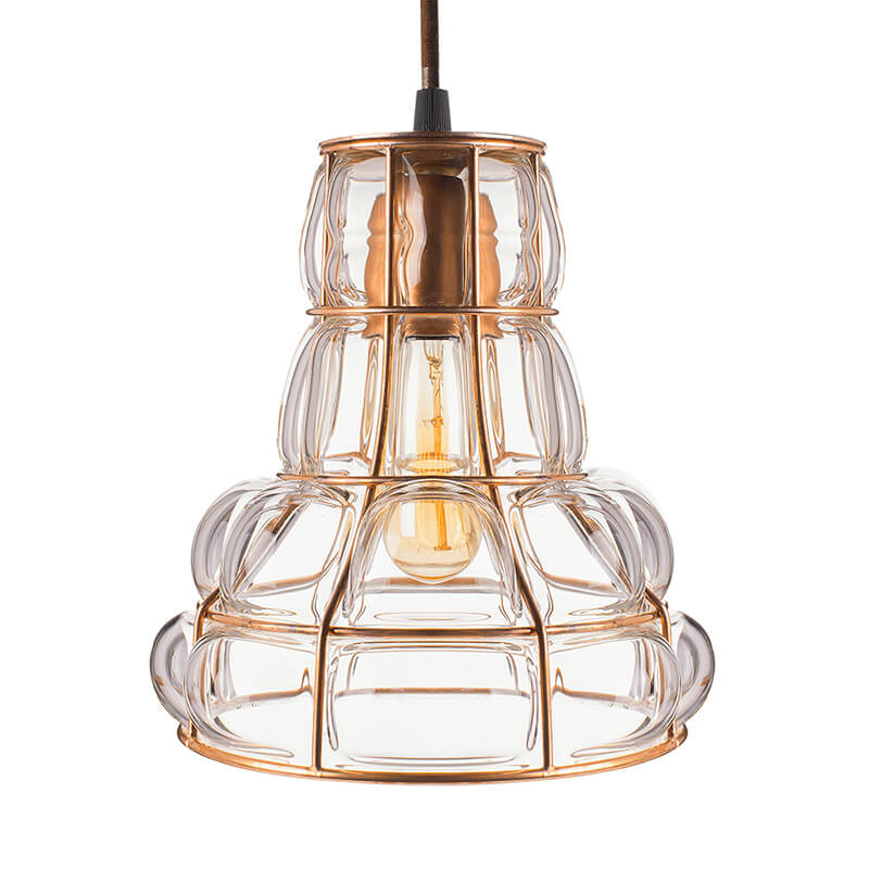 Taper Glass Blown Metal Pendant Light, Edison Industrial Hanging Ceiling Light, Rose Gold