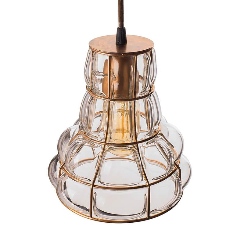 Taper Glass Blown Metal Pendant Light, Edison Industrial Hanging Ceiling Light, Rose Gold