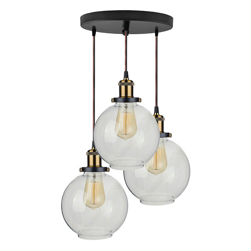 3-Lights Round Cluster Chandelier Modern Glass Globe Hanging Light, E27 Holder, Kitchen Island Ceiling Light URBAN Retro, LED/Filament Bulb
