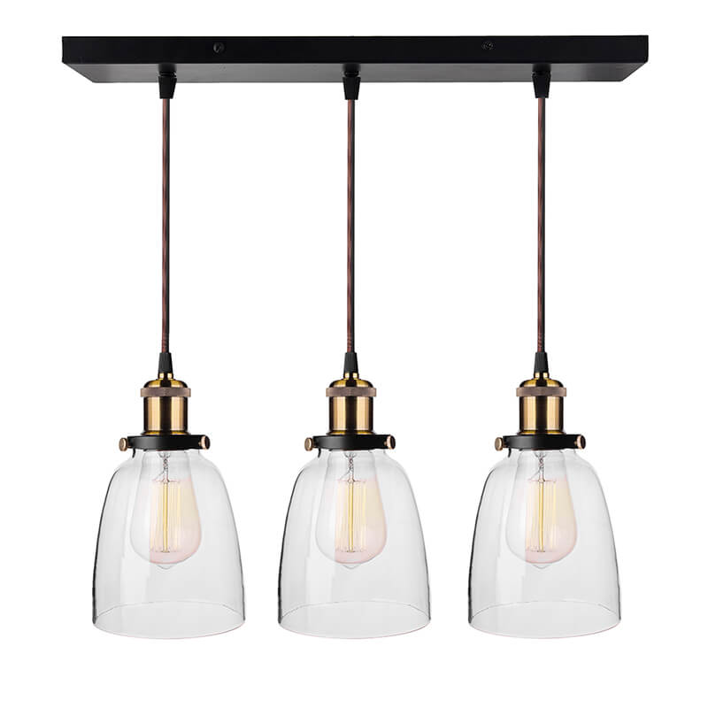 3-Lights Linear Cluster Chandelier Modern Bell Glass Shade Hanging Light, E27 Holder, Decorative, Black, URBAN Retro, Nordic Style, LED/Filament Bulb