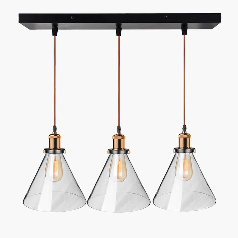 3-Lights Linear Cluster Chandelier Modern Glass Cone Shaped Hanging Light, E27 Holder, Decorative, Black, URBAN Retro, Nordic Style, LED/Filament Bulb