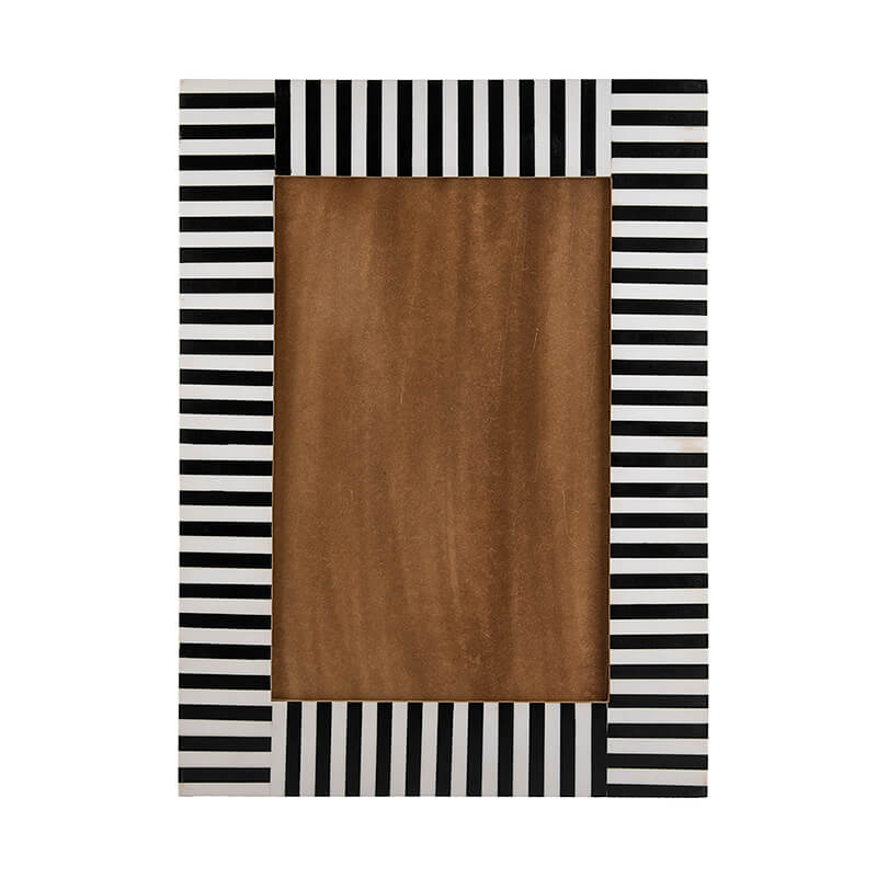 Black White Zebra Stripes Rectangle Mirror Wood Resin Wall Hanging Wall Decor for Living Room, Bedroom, Kids Room