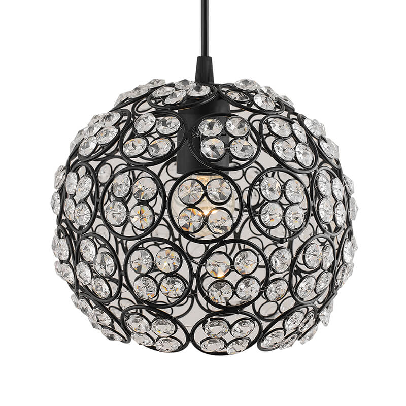 Matt Black Quad Crystal Hanging Globe Light, Ceiling Light, Nordic E27 Pendant, Large