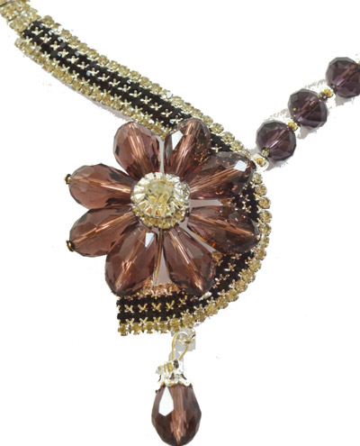 Dazzling Crystal Copper Colour Flower shaped set with earrings