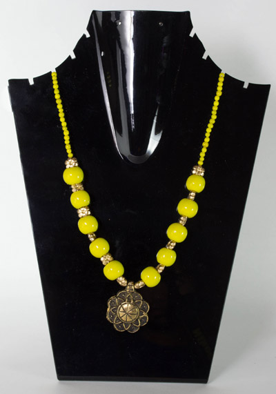 Aureolin Yellow with Regal Flower Pendant Necklet