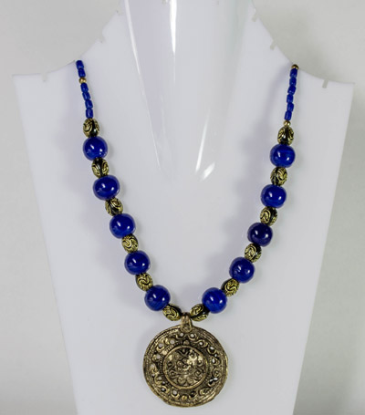 Cerulean Blue Beads with Antique Chamber Seal Pendant Necklet