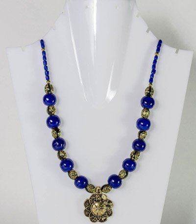 Cerulean Blue Beads with Regal Flower Antique Pendant Necklet