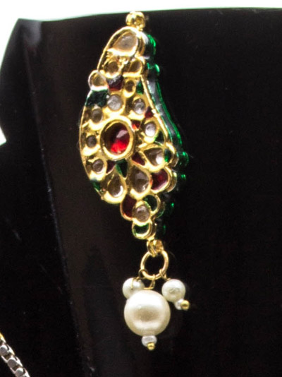 Kundan Peacock Pendant and Earrings Set