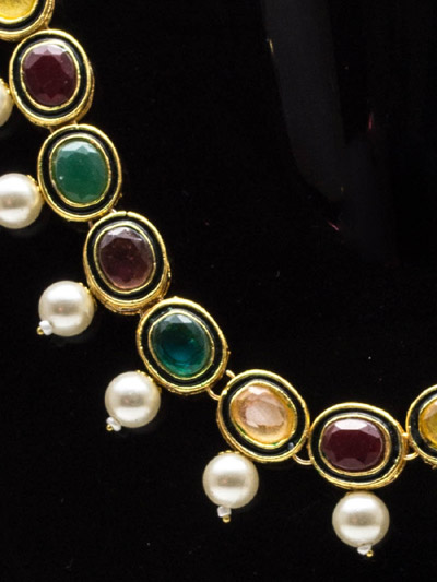 Regal Kundan Necklace Navratna