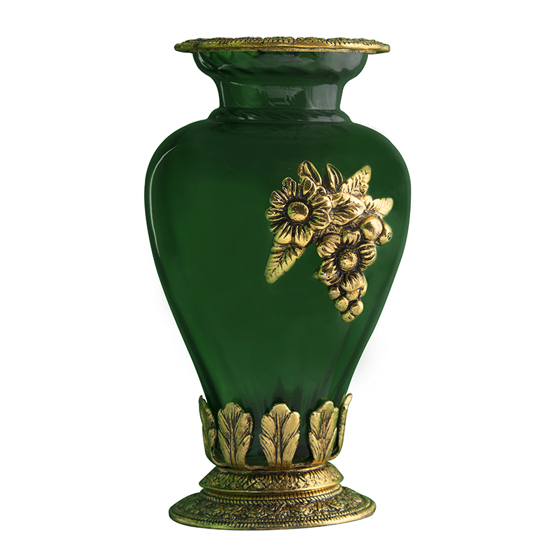 Golden Flower Pot Large with Antique Grapevine Brooch Green