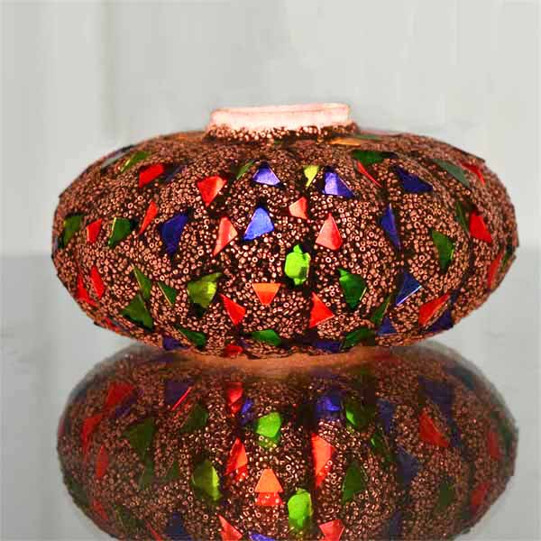 Mosaic Melon Votive Large, Glass Candle Holder Stand with Free Candle