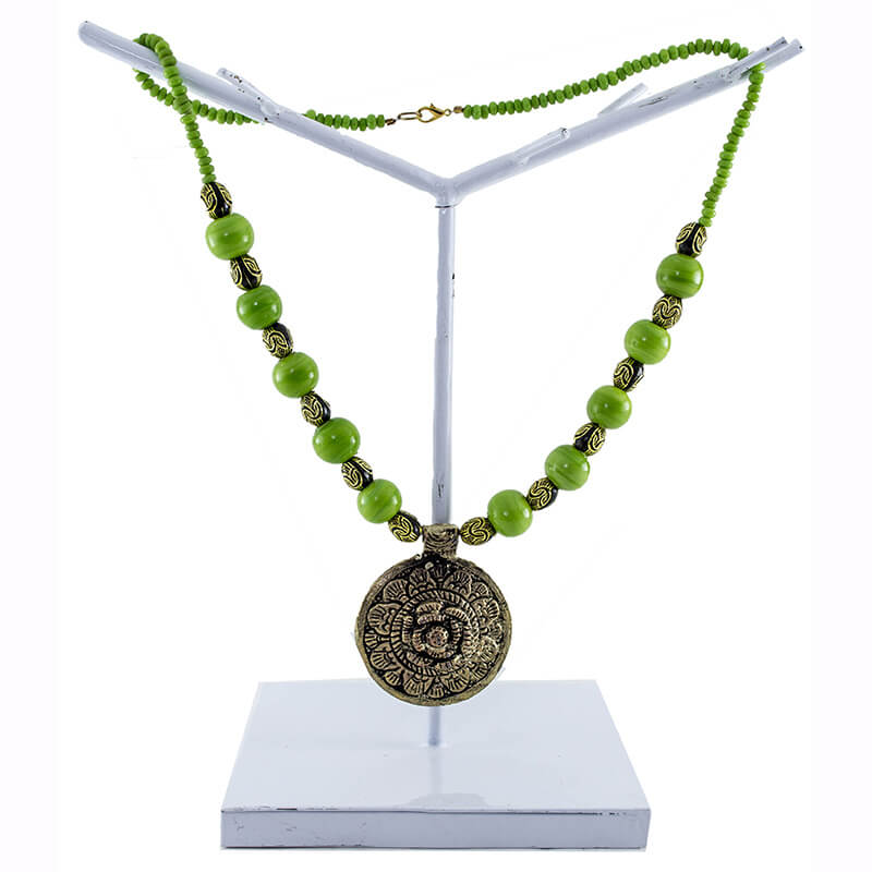 Apple Green with Antique Rose Pendant Necklet